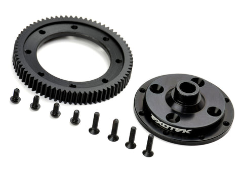 D413 Machined 72T Spur Gear and Mounting Plate