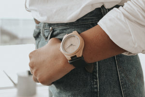 Open image in slideshow, Bamboo and Leather Watch