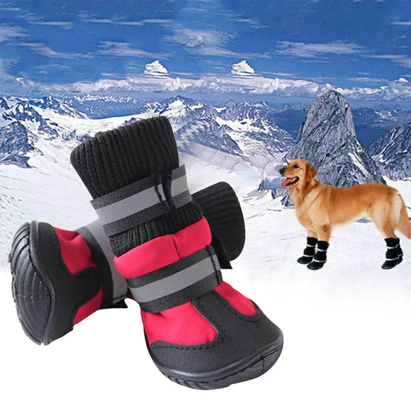 4/Pcs Pet Dog Shoes High Waist Golden Retriever Samos Husky Waterproof Non-Slip Winter Dog Feet Large Dog Cotton Boots