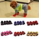 4Pcs/set Pet Dogs Winter Shoes Rain Snow Waterproof Booties Socks Rubber Anti-slip Shoes