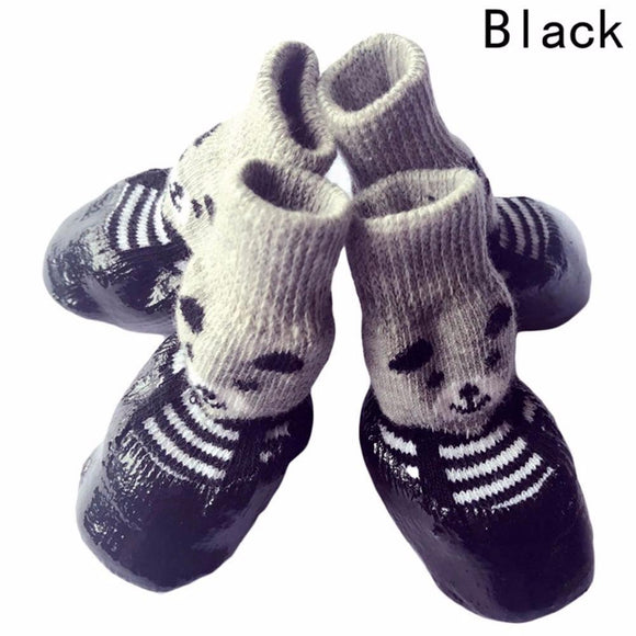 4pcs/set S M L Size Cotton Rubber Pet Dog Shoes Waterproof Non-slip Dog Rain Snow Boots