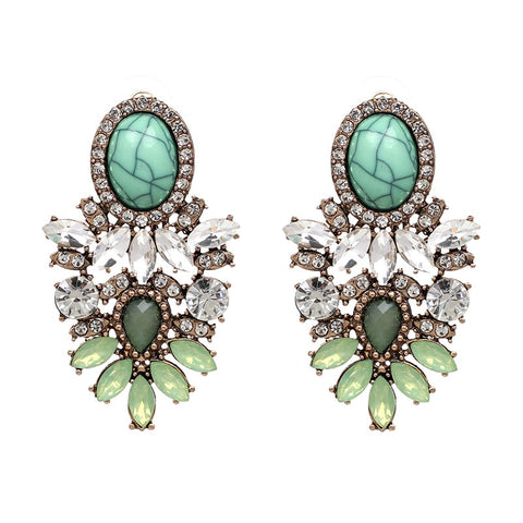 Four Corners Aqua/Crystal Earrings - 17E295
