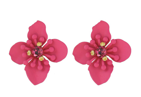 Four Corners Pink Flower Earrings - 18E334P