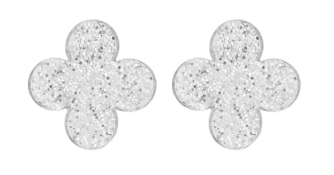 Four Corners Silver Glitter Earrings - 18E392CRY