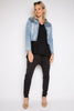 PQ Collection Super Stretch Denim Jacket - Light Blue