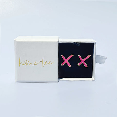 Home Lee Earrings - Pink X