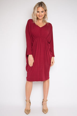 PQ Collection Gathered L/S Bamboo Miracle Dress Black Cherry