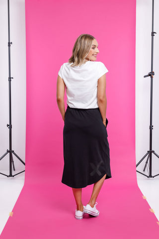 Home Lee - Midi Skirt -Black with Matt Black X