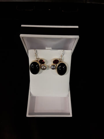 Onyx, Garnet, Fresh Water Pearl Sterling Silver Earrings