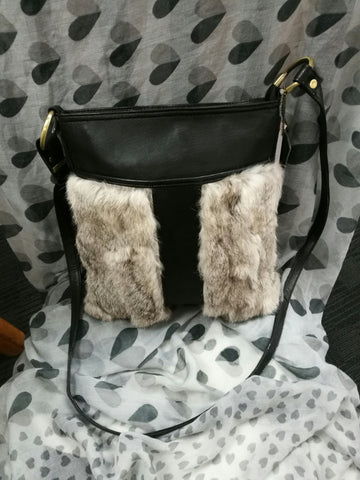 Rabbit Fur and cow hide leather Handbag