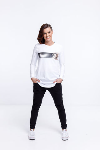 Home Lee - Rose Road Long Sleeve Tee - White with stripe print