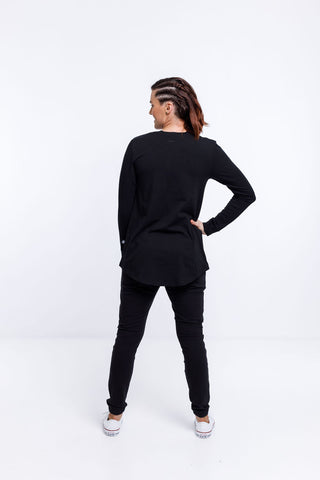 Home Lee - Rose Road Long Sleeve Tee - Black with stripe print