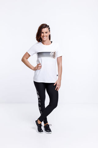 Home Lee - Rose Road Tee - White with stripe print