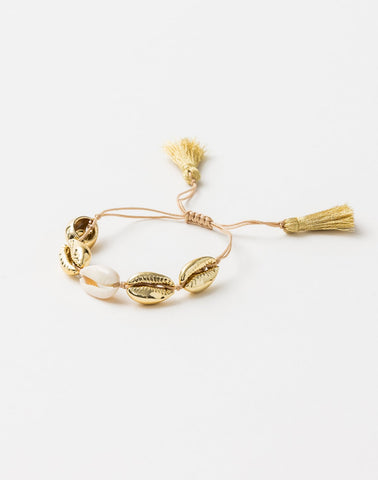 Stella + Gemma Bracelet - Shells Gold/Natural with tassell  SGBR5419