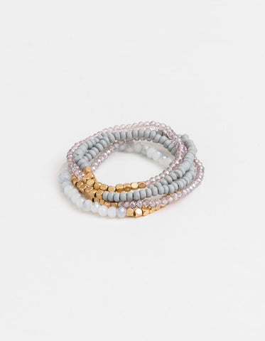 Stella + Gemma Bracelets - Set of 6 Grey/Gold Beads SGBR5437