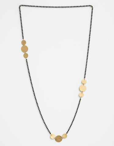 Stella + Gemma Necklace Black Beads with Gold Coins
