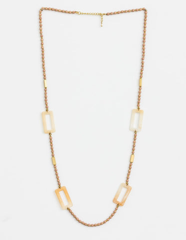Stella + Gemma Necklace  - Beige bead with rectangles SGNL9154