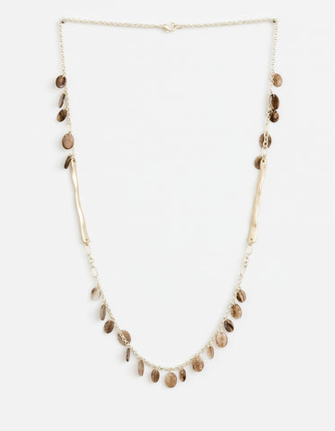Stella + Gemma Necklace  - Brown Resin Petals gold chain SGNL9227