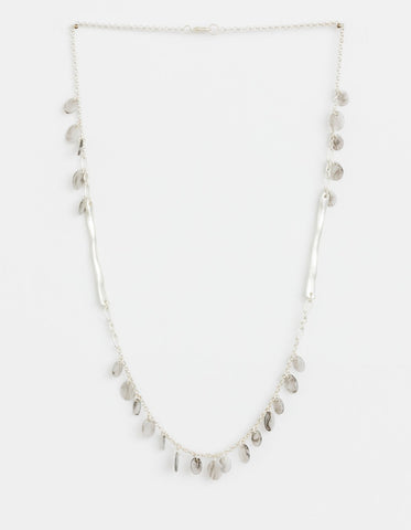 Stella + Gemma Necklace  - Grey Resin Petals silver chain SGNL9228