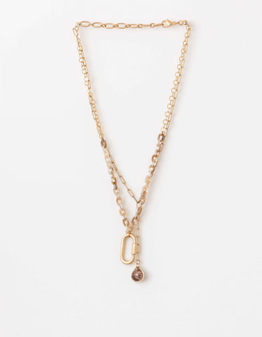 Stella + Gemma Necklace  - Gold Wiresin chain
