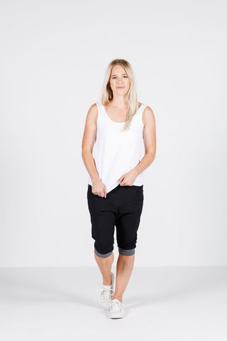 Home Lee - 3/4 APARTMENT PANTS - Black with X Spot print and stripe yoke