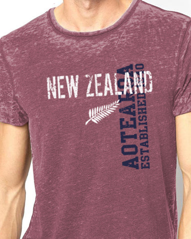 Tee shirt - Maroon NZ Fern