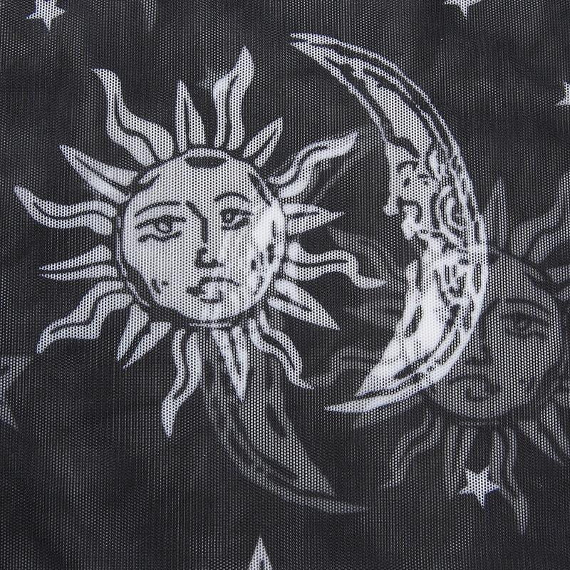 Sun and Moon Print Mesh  Top