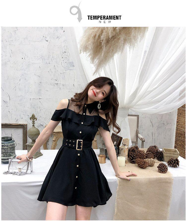 Bestkawaii-Cold-Shoulder-Turn-Down-Collar-Belt-Dress
