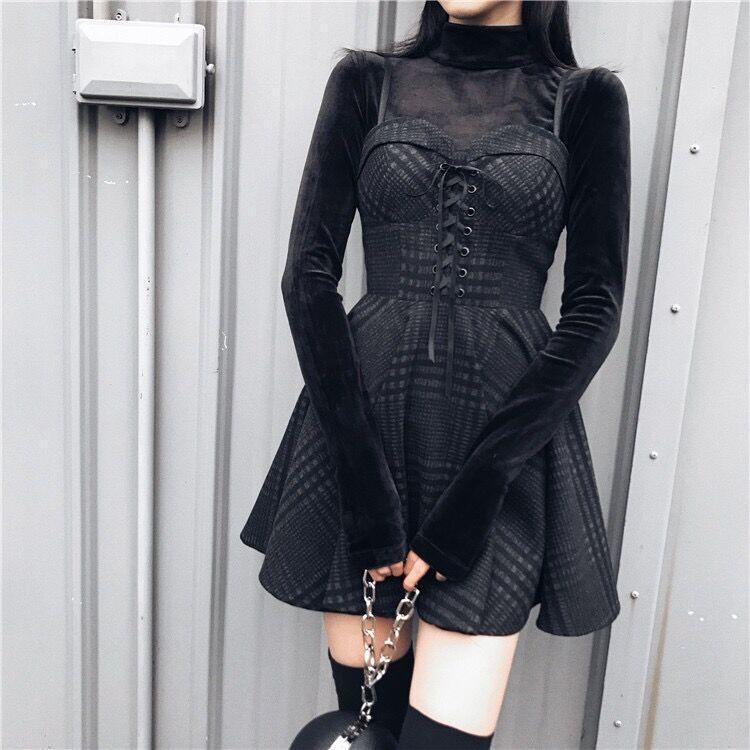 Bestkawaii-Lace-Up-Plaid-Dress