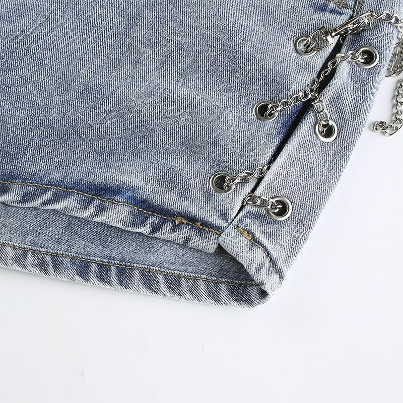 Split Chain Denim Shorts