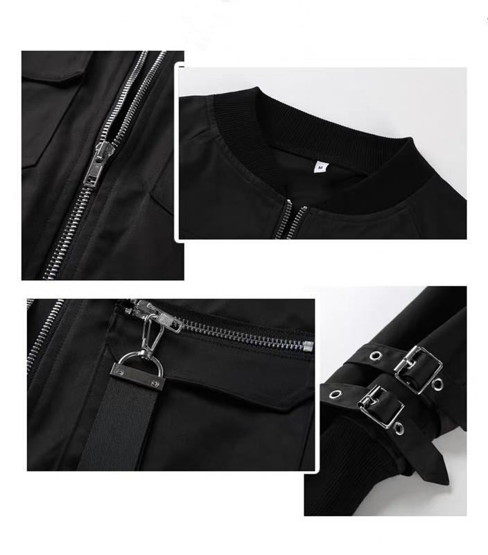 Black Buckle Bomber Jacket
