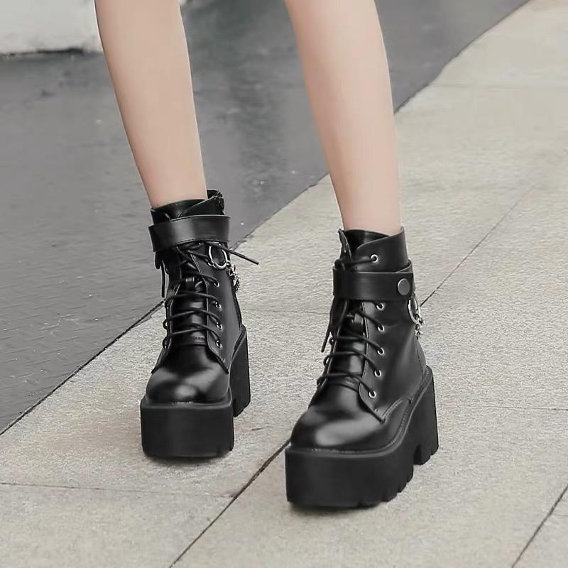 Chain Block Heel Boots