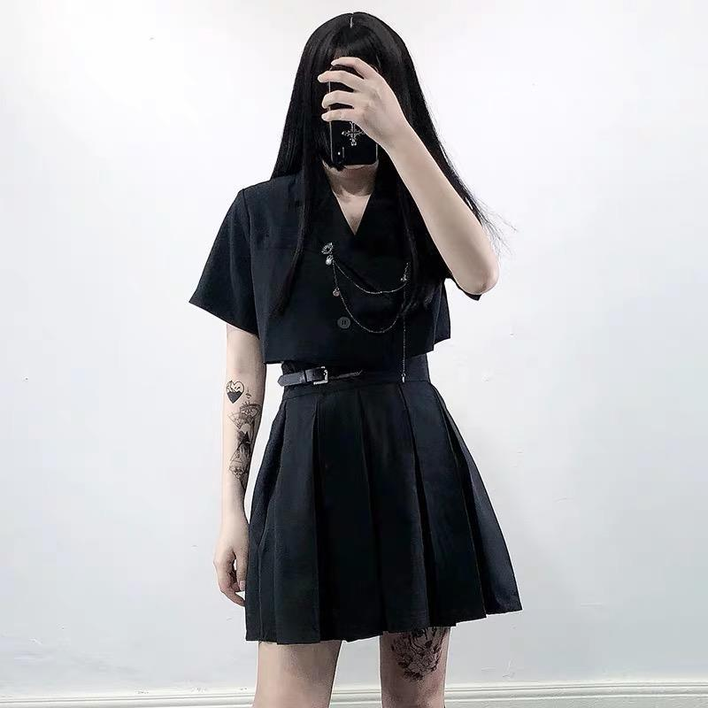 Cropped  V-neck Turn-down Collar Jacket  Short Sleeve