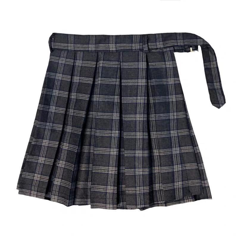 Gothic Irregular High Waist Plaid Skirt