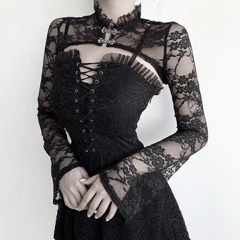 Black Lace Strap Dress