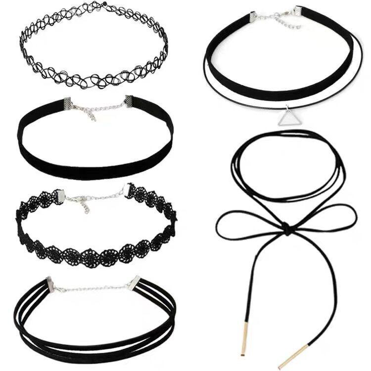 Simple Black Choker Set