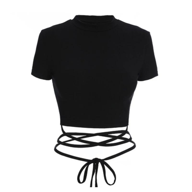 Best Kawaii - Sexy Lace Up T-shirt Top