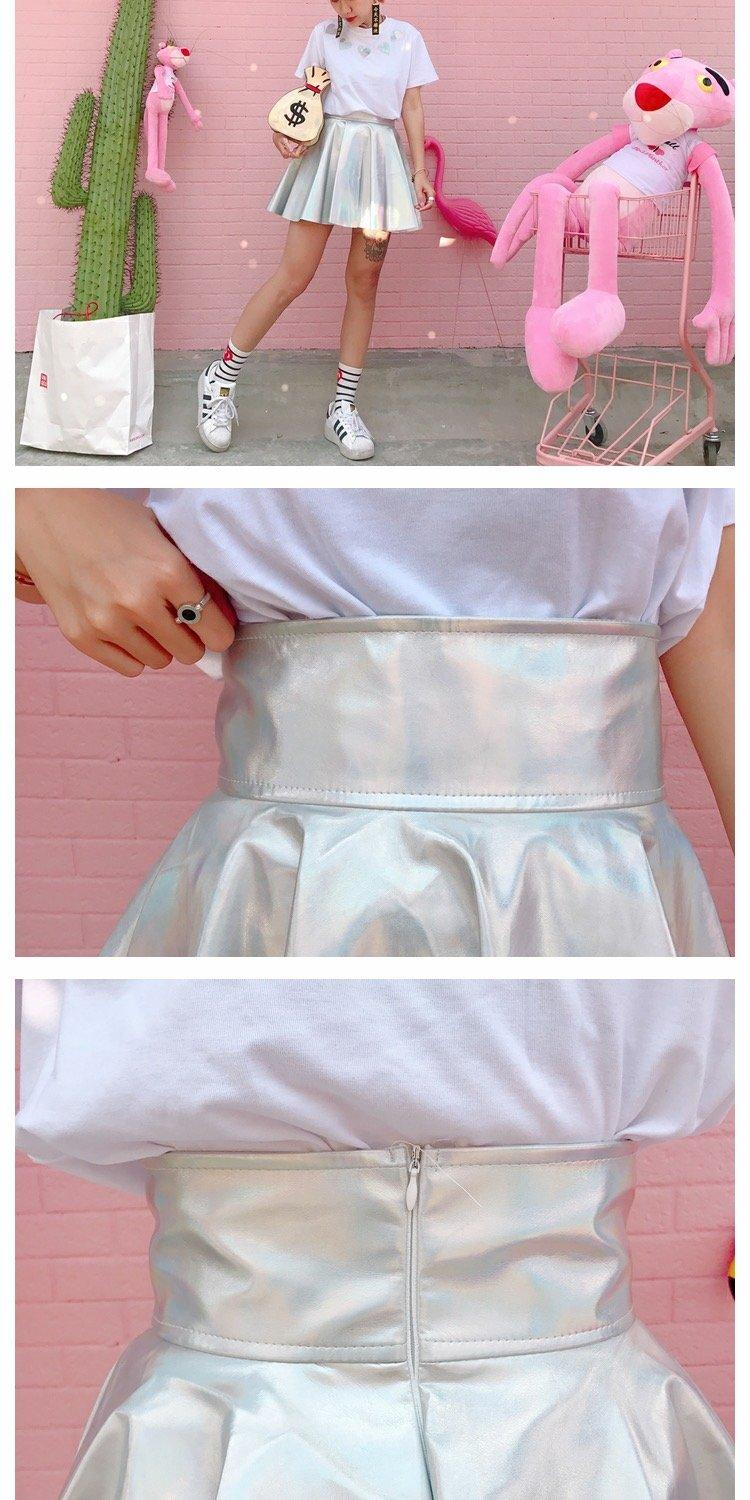 Silver Metallic A-line Mini Skirt