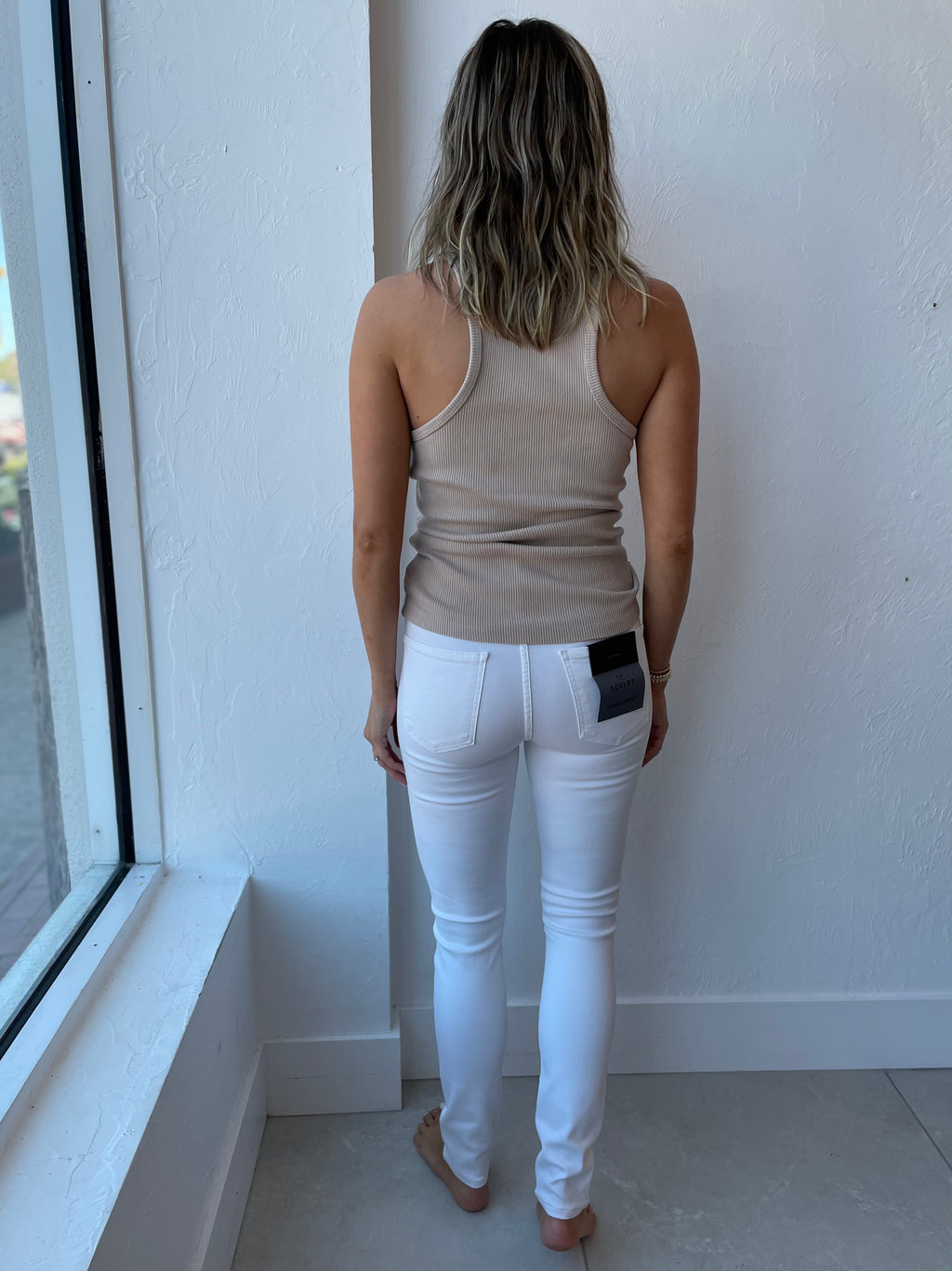 Rocket Ankle Mid Rise Skinny / White Sculpt