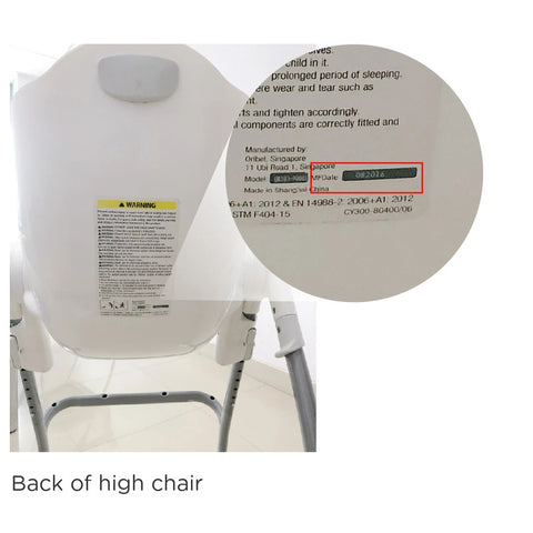 Warning Sticker - Back of High Chair