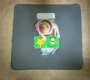 Baby using BapronBaby Slate Splash Mat
