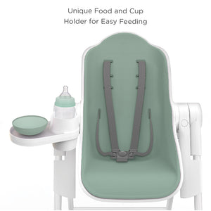 Oribel Cocoon High Chair Pistachio Macaron Unique Food and Cup Holder for Easy Feeding