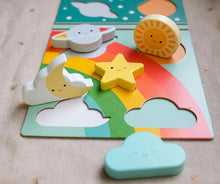 Load image into Gallery viewer, Petit Collage Chunky Wood Puzzle + Play - Rainbow