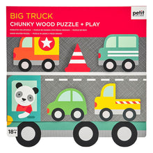 Load image into Gallery viewer, Petit Collage Chunky Wood Puzzle + play - Big Truck