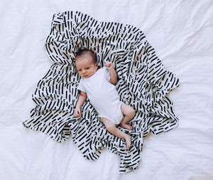 Tiny Twinkle Swaddle Blanket Ink Strokes