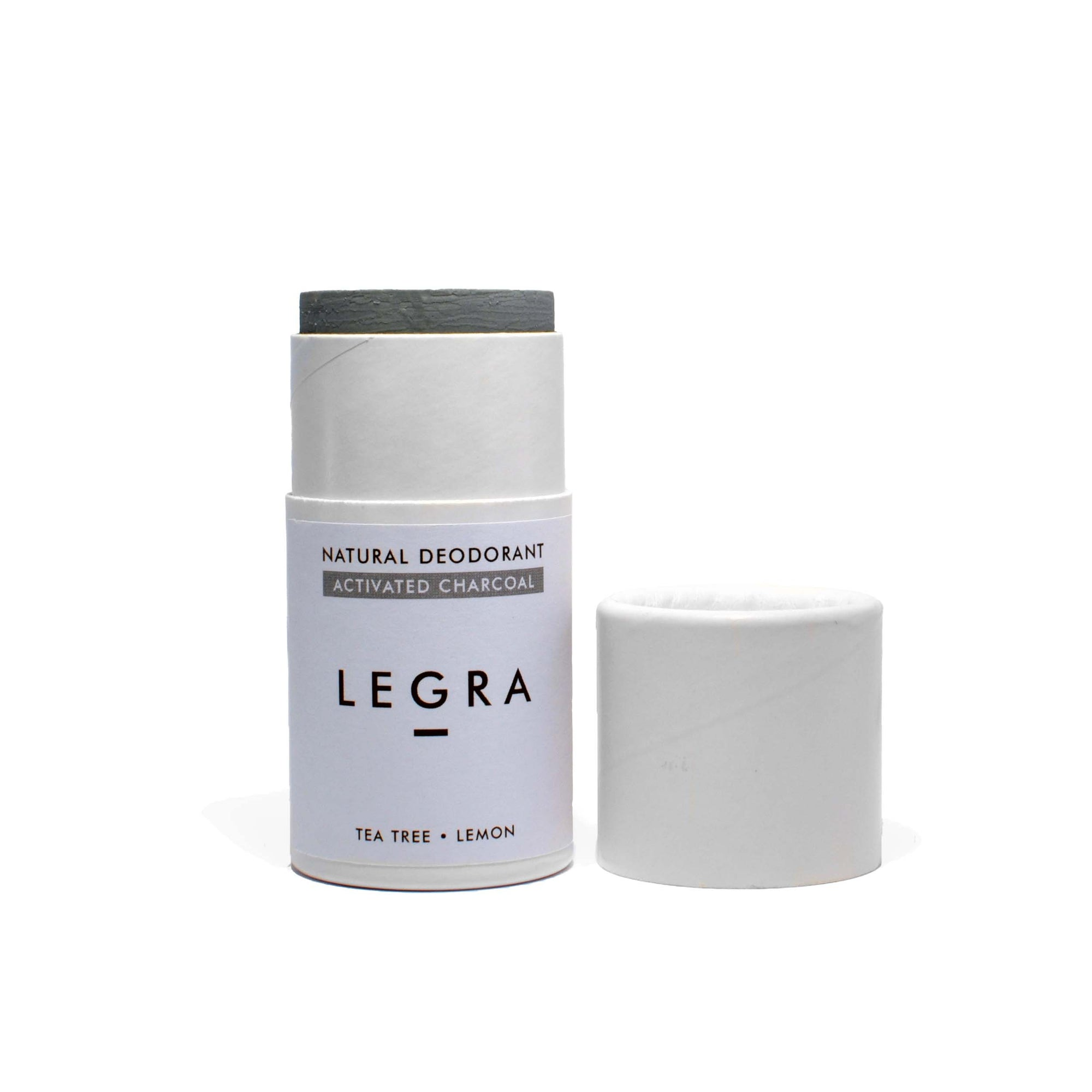 LEGRA - Bamboo Activated Charcoal, Tea Tree & Lemon - Natural Deodorant Stick