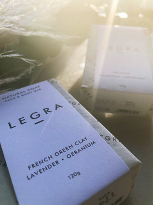 LEGRA - French Green Clay, Lavender, Geranium & Patchouli Face & Body Soap Bar