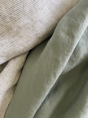100% Organic Natural French Linen 4 Piece Double Duvet Set - Silver Sage