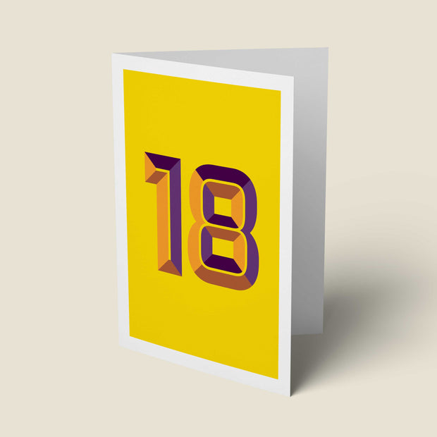 Bright Typographic 18th Birthday Card