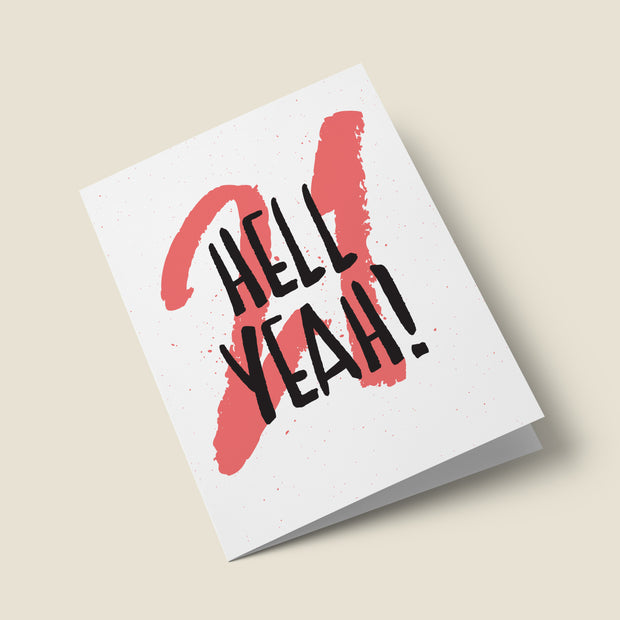 Hell Yeah - Typographic 21st Birthday Card